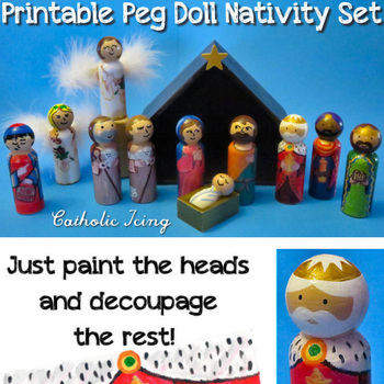 The Nativity Set - Printable Peg Doll Patterns (Just Paint the Head and Face)