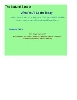 The Natural Base e SmartBoard Lesson