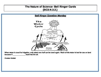 The Nature of Science- Bell Ringer Cards3rd Grade