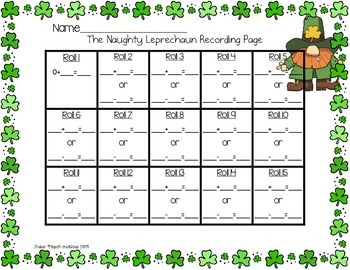 The Naughty Leprechaun {A Printable Math Center/Game for St. Patrick's Day}