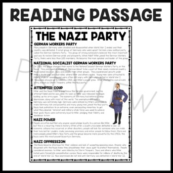 The Nazi Party article with 6 questions- multiple choice, World War II