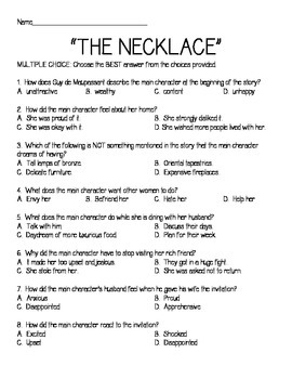 The Necklace Anticipation & Reading Guide, Theme, Multiple Choice, Maupassant
