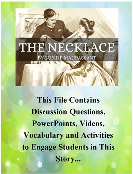 The Necklace By Guy de Maupassant Teacher Supplemental Resources Fun Engaging
