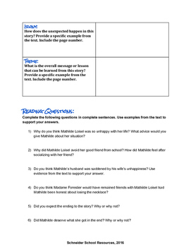 The Necklace Graphic Organizer and Reading Questions