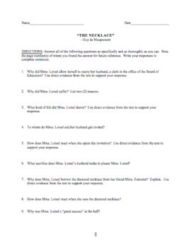 """""""The Necklace"""" Reading Questions and Answer Key and Vocabulary List"""