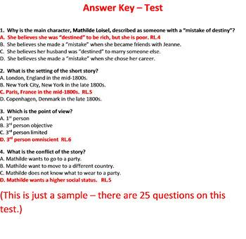 The Necklace Test Short Story by Guy de Maupassant | TpT