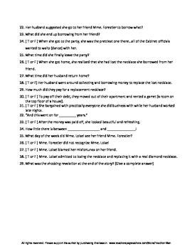 Necklace by Guy de Maupassant Complete Guided Reading Worksheet