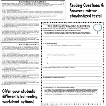 The Necklace Short Story by Maupassant: Common Core ELA Test Prep Quiz