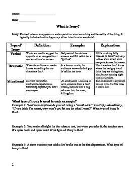 Irony Worksheets Teaching Resources Teachers Pay Teachers