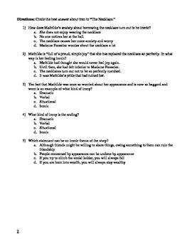"""""""The Necklace"""" by Maupassant Irony Worksheet & Project"""