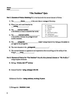 """""""The Necklace"""" by Maupassant Quiz"""
