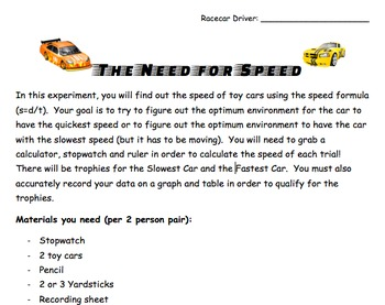The Need for Speed - Speed, Graphing, and Data Activity