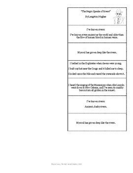 The Negro Speaks of Rivers by Langston Hughes Foldable Poetry Analysis tool