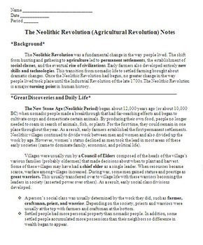 neolithic revolution worksheets switchconf the neolithic or agricultural revolution notes worksheet