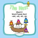 Short E Word Family Vowel Sort - The Nest