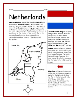 The Netherlands - Printable handout with map and flag