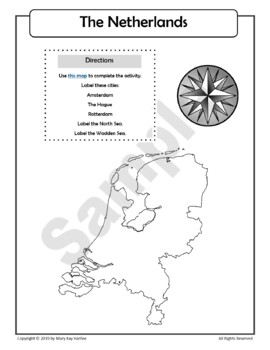 The Netherlands:  Worksheets, Maps, and Journaling Pages