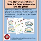 The Never Ever Dinner Plate for Negation and Food Categories
