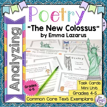 The New Colossus by Emma Lazarus Poetry Analysis Task Card