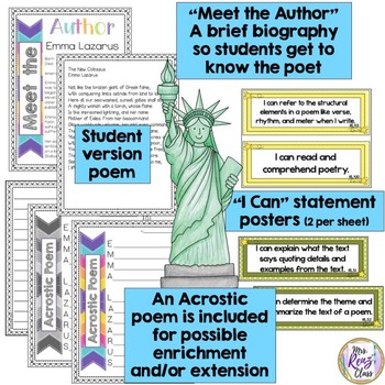 Poetry Task Cards The New Colossus by Emma Lazarus Poetry Analysis