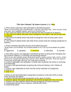 The New Colossus by Emma Lazarus Critical Thinking Questions: 1, 2, 4 assignment