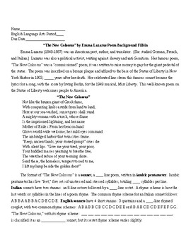The New Colossus By Emma Lazarus Poem Background Information Sheet And Key