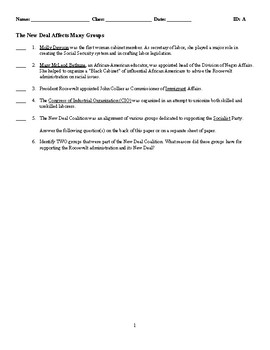 The New Deal Affects Many Groups - (Quiz or Study Guide)