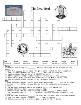 The New Deal Crossword Puzzle or Web Quest
