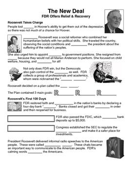 22 - The New Deal - Scaffold/Guided Notes (Blank and Filled-In)
