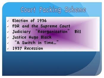 The New Deal--Labor Strife/Court Packing Scheme/Life in the 30s/New Deal Legacy