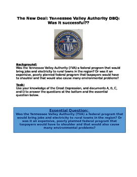 The New Deal:Tennessee Valley Authority DBQ: Was it successful??