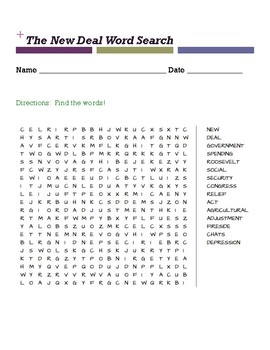 The New Deal Word Search