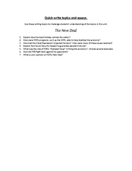 The New Deal Writing Topics and Essay Questions