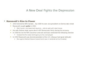The New Deal and Fighting the Great Depression