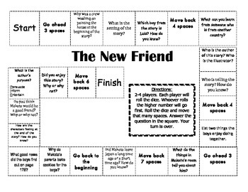 """""""The New Friend"""" Comprehension Game Board- Journeys story"""