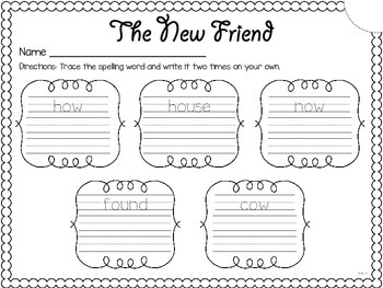 The New Friend {spelling, writing, and phonics practice}