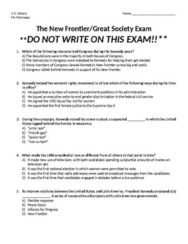 The New Frontier & The Great Society Exam