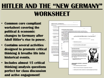 Hitler and the New Germany worksheet - Global/World Histor