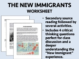 The New Immigrants Worksheet - USH/APUSH