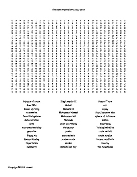 The New Imperialism:1800-1914 Vocabulary Word Search for World History