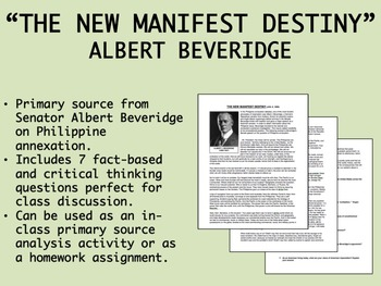 """The New Manifest Destiny"" - Albert Beveridge - USH/APUSH"