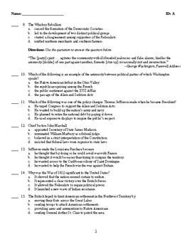 U.S. History - The New Republic Test (1789-1816)