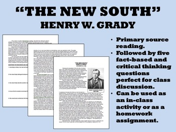 """The New South"" - Henry W. Grady - USH/APUSH"