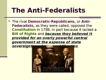 The New United States Government - The Federalist Era - 1789-1801