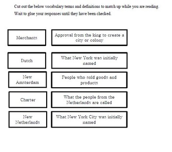 The New York Colony Guided Reading