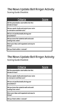 The News Update Bell Ringer Activity