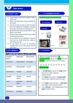 The News - a worksheet for ESL or EFL students