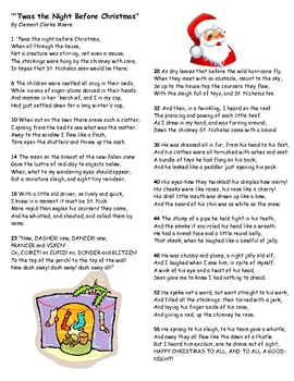 The Night Before Christmas Comprehension
