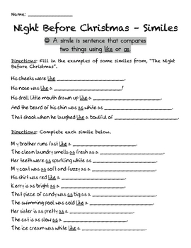 The Night Before Christmas - Handouts