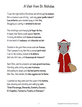 The Night Before Christmas with French Vocabulary by Pepper